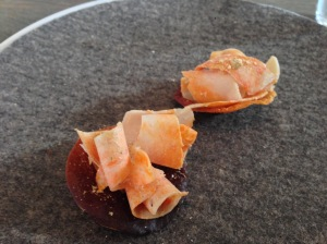 Monkfish liver and caramelized milk