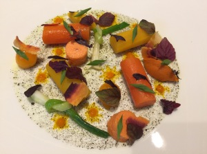 Collection of carrots cooked with tumeric roots