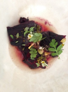 Beetroot with Sloe berries and aromatic herbs