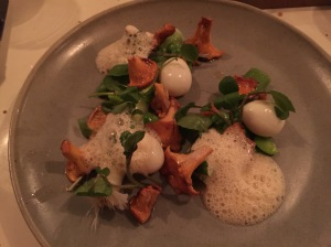 Leeks, chanterelles and quail eggs