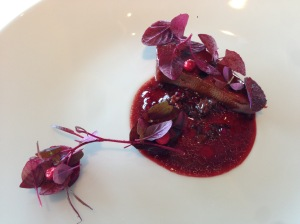 Grilled tongue of veal, red leaves and lingon berries