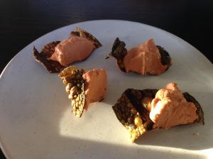 Monkfish liver on fried fish skin
