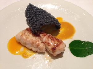 Monkfish with yellow hawthorn: Roasted monkfish garnished with