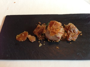 Chippings of puffed lamb. Caramel coat.