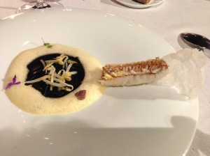Red mullet with edible scale crystals, soybean sprouts, wheat semolina and cuttlefish (2013)