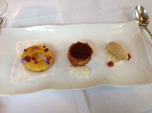 (R to L)caramel sorbet with peanuts, caramel cake topped with mango with vanilla tapioca, pineapples with pink peppercorns