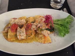 Pumpkin and ricotta ravioli with red mullet fillets