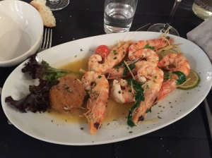 Prawns with fresh coriander, ginger and lime with porcini rice cake
