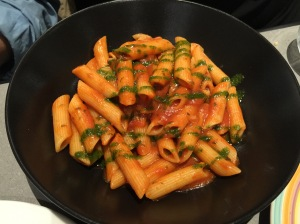 Pasta alla Norma: with tomatoes, eggplant, grated ricotta salata cheese and basil