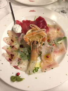 Crudo plate: Tuna, Swordfish, prawn and sea bass with wasabi