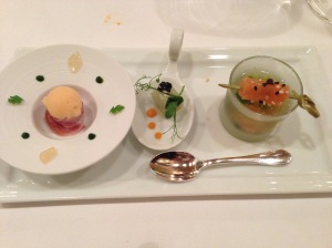 melon ice with prosciutto, smoked whitefish, smoked salmon