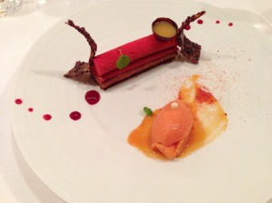 Black Grenada 67 Belcolade chocolate velours cake, passion caramel, citrus fruit marmelade.