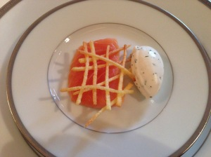 Smoked salmon, potato chip and cream