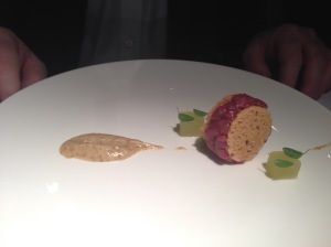 Raw duck, mustard and apple cream
