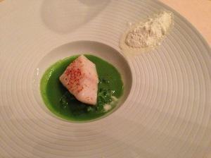 Cod with broccoli and salt cod snow