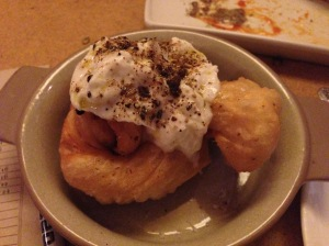 Garlic fry bread with burrata
