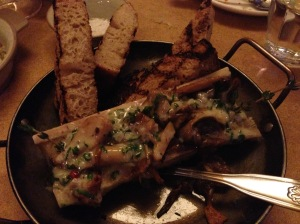 Roasted bone marrow with mushrooms and pink peppercorns