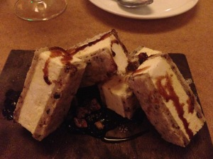 Spiced cocoa nib 'ice cream' sandwich, black pepper pecans, plum fudge