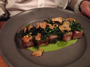 Grilled New York strip steak, broccoli, elephant garlic