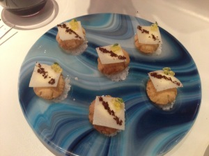 Manchego cheese: foam inside of mini airbags with hazelnuts, olive oil and caviar