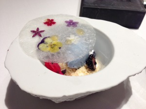 A dried flower glass, crunchy yoghurt, flower honey and violet ice cream. I've moved the top aside to reveal what was beneath.