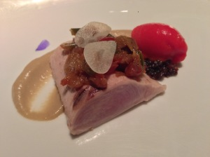 Wild Mediterranean bonito with samfaina, black onion and smoked eggplant