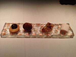 """Temptacions"": chocolate, olive oil, and peasant bread, banana muffin, music, and blood orange marshmallow"