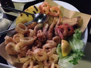 Fritto misto with squid, red mullet, moli, couple kinds of shrimp