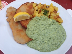 Pork schnitzel and green sauce