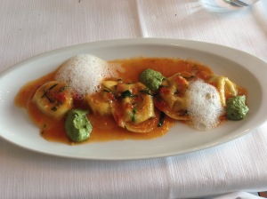 "High altitude 5 cheese ravioli, ""kärntner schlutzkrapfen"" with ""frankfurter kräuter"" (green sauce) and oven dried tomatoes"