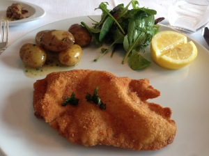 Veal wiener schnitzel with salad and new potatoes. (Hollandaise and aspargus on separate plates)