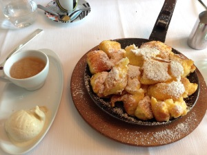"Lohninger's ""Kaiserschmarrn"" (pancake) with styrian apple puree and bourbon vanilla ice cream"