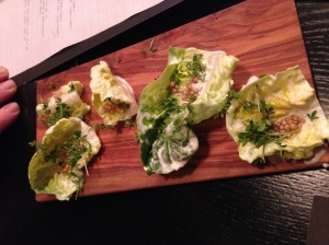 Grandma salad: lettuce with mustard seed, sourcream and buttermilk
