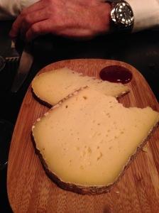 Classic Scandinavian cow milk cheese with lemon verbena and lingonberry sauce