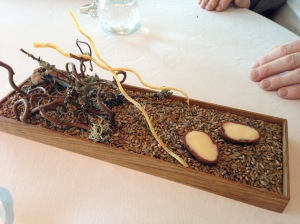 Jerusalem artichoke (long light sticks) with rye and walnut dipping sauce