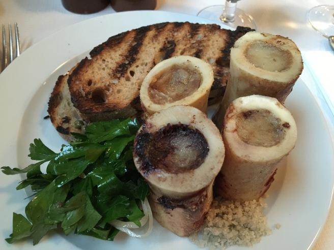 roast bone marrow and parsley salad