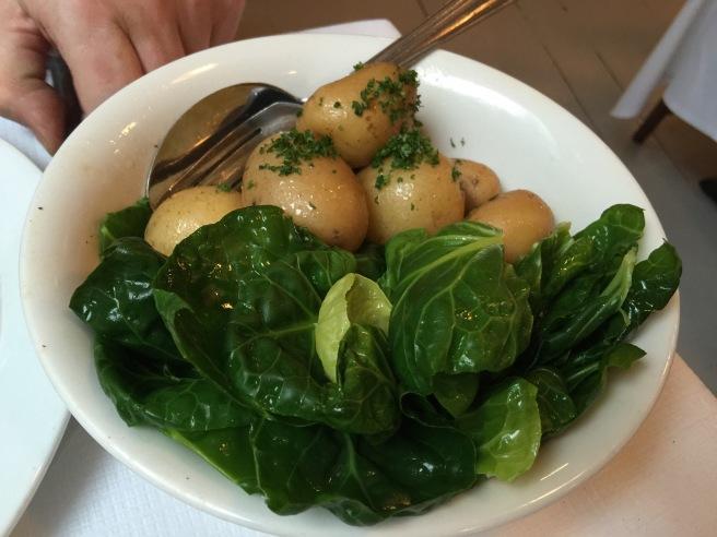 New potatoes, greens