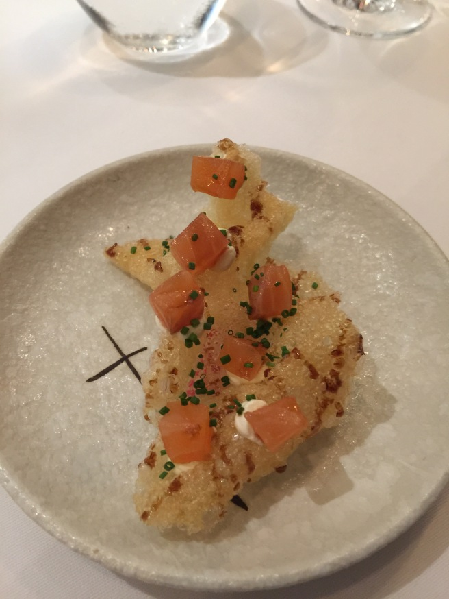 puffed potato with salmon
