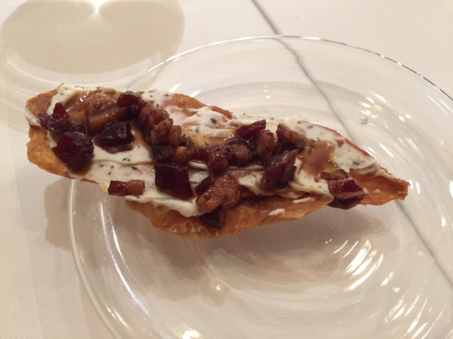 chicken skin with marscapone cheese and bacon jam