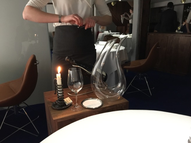 wine decanting at the table