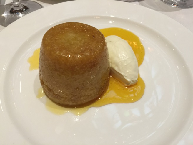 Golden syrup sponge pudding with custard