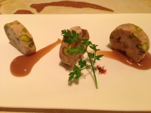 Veal terrine with foie, pistachio nuts and dried fig puree