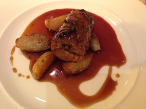 Boneless lamb shoulder with potato and shallot confit
