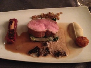 Fillet of Veal with chard, Jerusalem artichoke, flat iron steak, foie gras and a sauce of morels