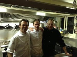 The evening's chefs, Rogier van Dam is on the left