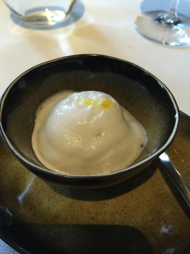 Floating island wtih yuzu and Meyer lemon. Cool and tasty, and really foamy