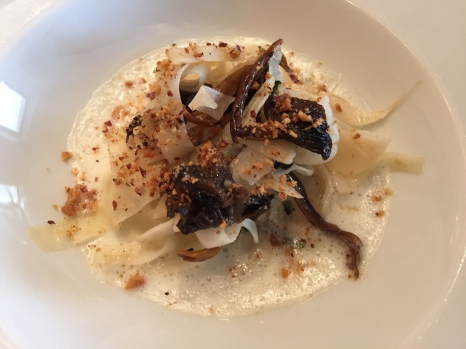 Celery root and mushroom like girolle, truffle and hazelnut