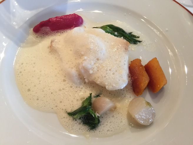cod fish, squash gnocchi, rutabega puree and turnip