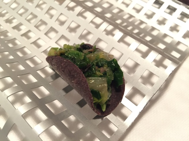Dark taco with escarole. Fried dark pasta was tough. Just okay