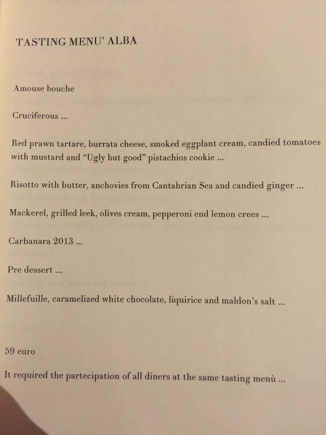 Tasting menu Alba